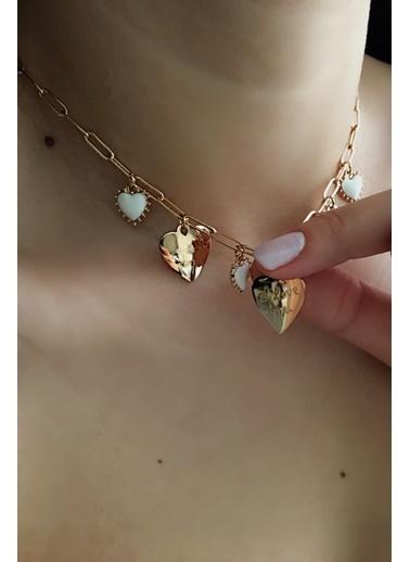 My Joyas Design Sıralı Kalp Kolye Altın